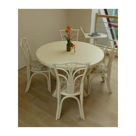 Table Ø 122 en rotin avec 1 allonge